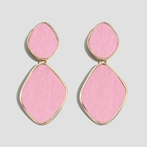 NWT Gold Pink Retro Style Drop Statement Earrings